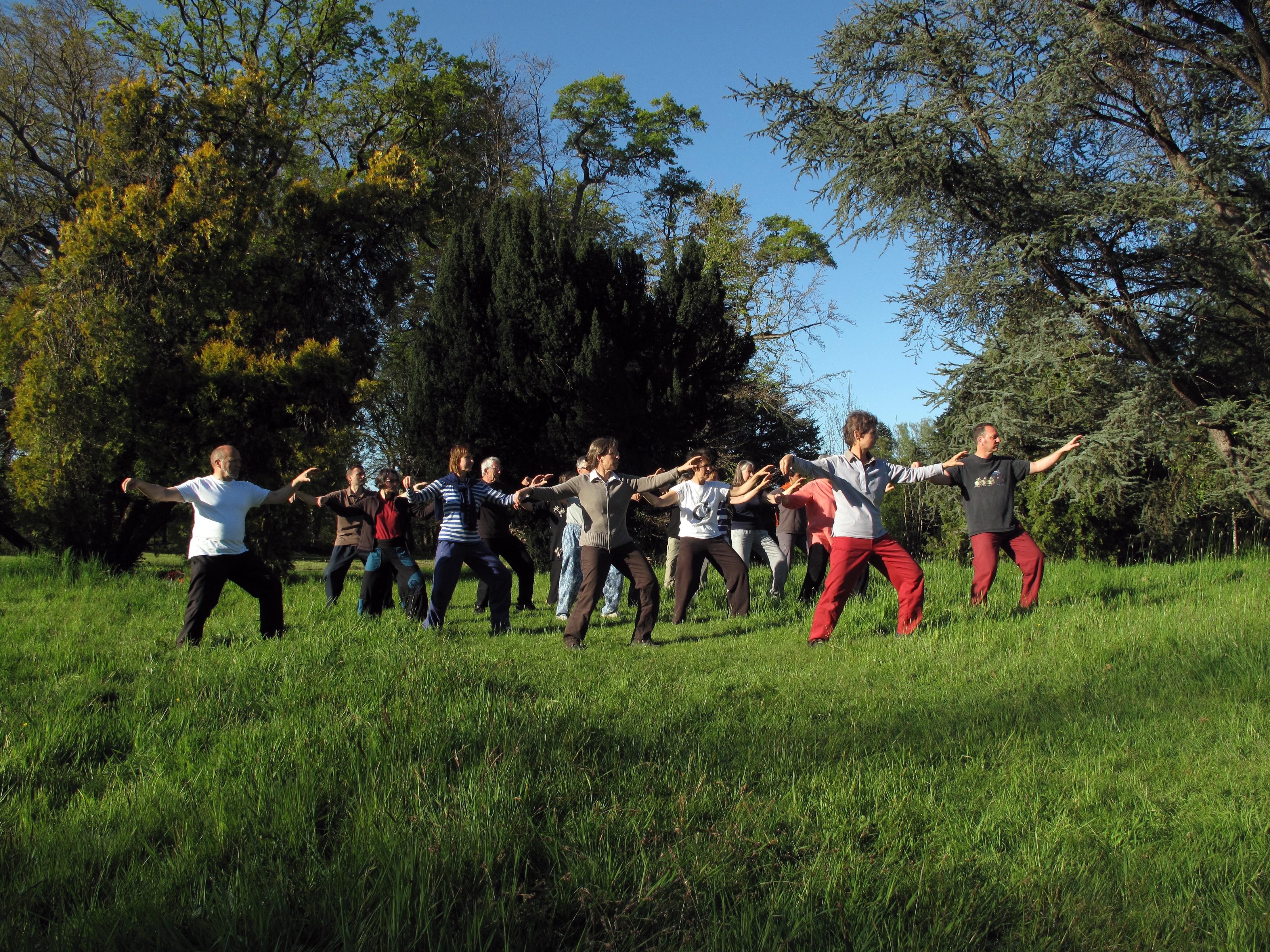 Un groupe de Tai Chi, île de Berder, Bretagne