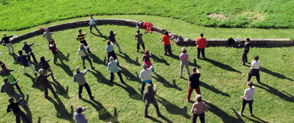 Un groupe d'élèves prend un cours de Tai chi